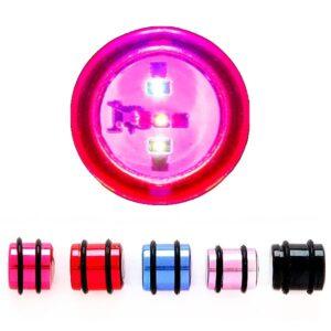 Blikajúci plug do ucha, rôzne farby a rozmery X1.1/15 - Hrúbka: 12 mm, Farba piercing: Červená