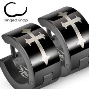 Čierne oceľové náušnice s ľaliovým krížom v striebornom odtieni X14.12