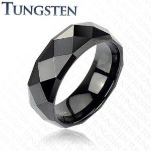Čierny tungstenový prsteň s brúsenými kosoštvorcami, 6 mm B2.4 - Veľkosť: 49 mm