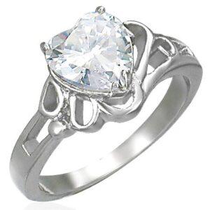 Dámsky lesklý oceľový prsteň, veľké číre zirkónové srdce D6.20 - Veľkosť: 49 mm