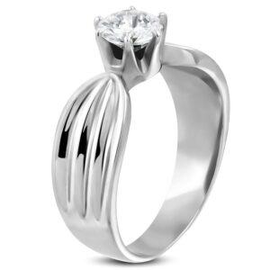 Dámsky prsteň z ocele 316L s čírym zirkónom a zárezmi po stranách D15.19 - Veľkosť: 50 mm