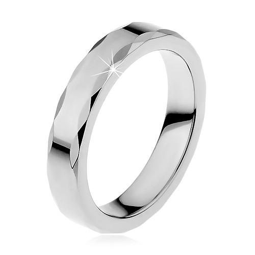 Dámsky wolfrámový prsteň so stužkovým okrajom D7.20 - Veľkosť: 67 mm