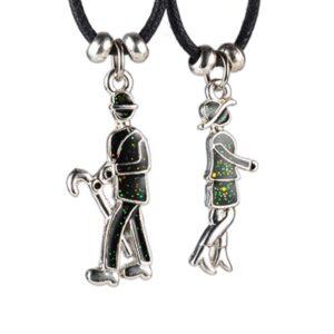 Dvojdielny náhrdelník - dáma a pán s dáždnikom Q16.1