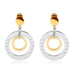 Dvojfarebné náušnice z ocele 316L, veľký kruh s dierkami a menším kruhom G22.09