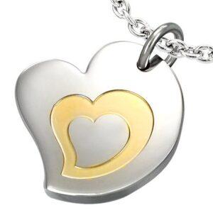 Dvojfarebný prívesok z chirurgickej ocele, motív - trojité srdce AA09.24