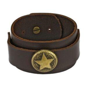 Hnedý kožený náramok - vojenská hviezda Q9.1