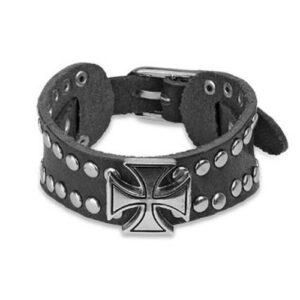 Kožený náramok - čierny, vybíjaný, keltský kríž Q10.1