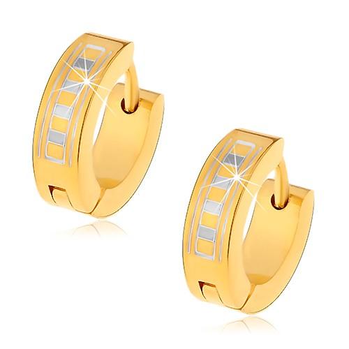 Lesklé okrúhle náušnice z ocele 316L v zlatom odtieni s gréckym vzorom G7.26
