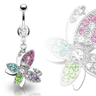 Luxusný oceľový piercing bruška krásny farebný kvet vyložený zirkónmi C18.13