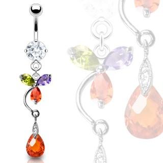 Luxusný piercing brucha farebný kvet a červená kvapka C17.15