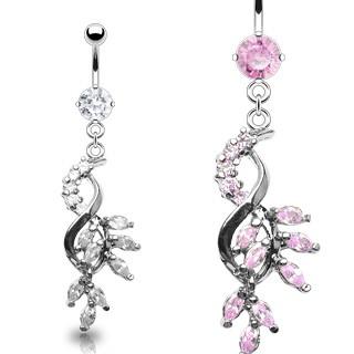 Luxusný piercing do bruška prepletené lístky vykladané zirkónmi C18.19 - Farba zirkónu: Ružová - P