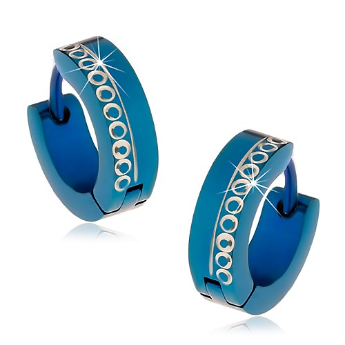 Modré kĺbové náušnice z chirurgickej ocele s vyrezávanými krúžkami Z44.08