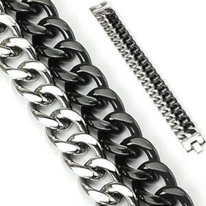 Mohutný náramok z ocele - dve reťaze, čierno-strieborné farebné prevedenie O9.7