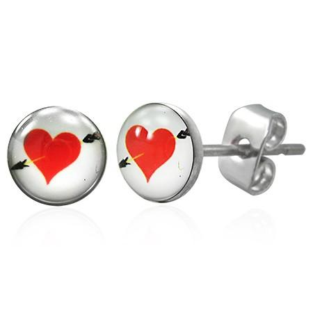 Náušnice z chirurgickej ocele červené srdce so šípom G6.20