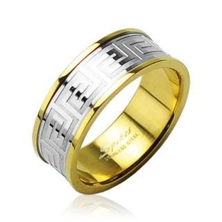Obrúčka z chirurgickej ocele zlatej farby so stredovým pruhom striebornej farby D17.10/D18.10 - Veľkosť: 70 mm
