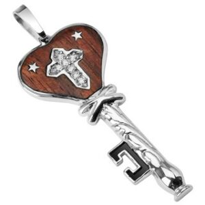 Oceľový prívesok drevený kľúč s hviezdičkami G5.27