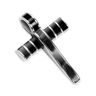 Oceľový prívesok - mohutný kríž zdobený čiernou glazúrou G15.11
