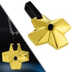 Oceľový prívesok - široký kríž zlatej farby s čiernym očkom v strede G12.5