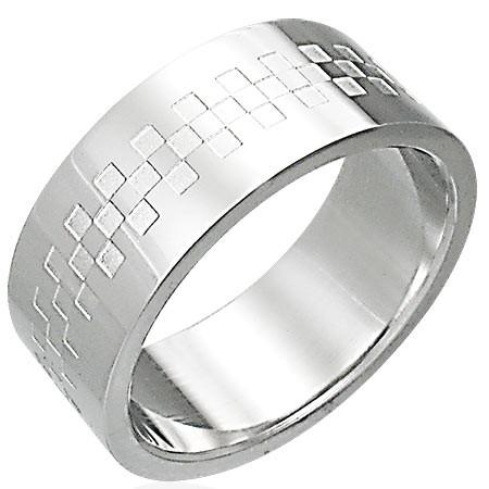 Oceľový prsteň lesklý so vzorom v tvare šachovince D3.6 - Veľkosť: 70 mm