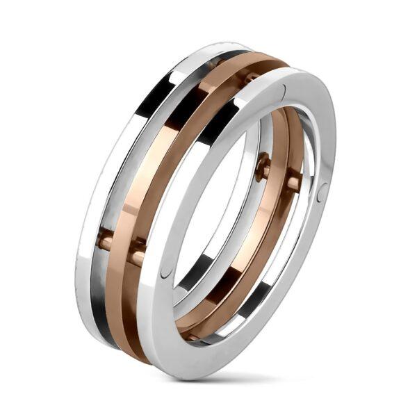 Oceľový prsteň - tri pruhy