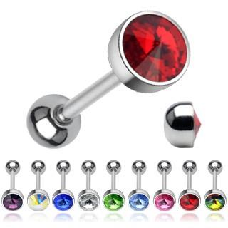 Piercing do jazyka - ligotavý krištáľ brúsený do špica C10.6 - Farba zirkónu: Vitrail Medium - VM