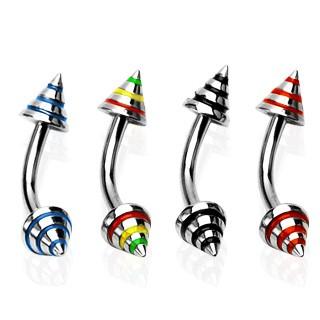 Piercing do obočia s troma farebnými pásmi C3.7 - Rozmer: 8 mm x 4x3 mm