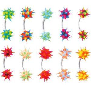 Piercing do obočia so silikónovým farebným ježkom C16.19 - Farba piercing: Oranžová - Zelená
