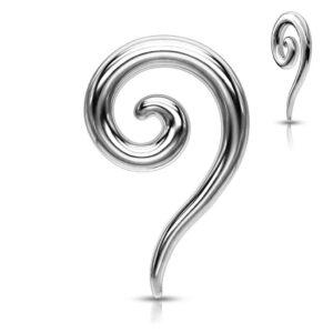 Piercing do ucha z ocele - lesklá rozťahovacia špirála C14.19 - Hrúbka piercingu: 2 mm