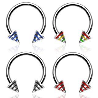 Piercing podkova s troma pásmi na hrote C10.1 - Rozmer: 1