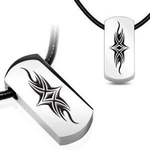 Prívesok na šnúrke - tehlička s tribal symbolom Q6.6