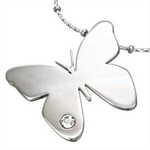 Prívesok z chirurgickej ocele, lesklý motýľ s čírym zirkónikom G2.17