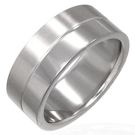 Prsteň z chirurgickej ocele s prúžkom v strede D17.5 - Veľkosť: 70 mm
