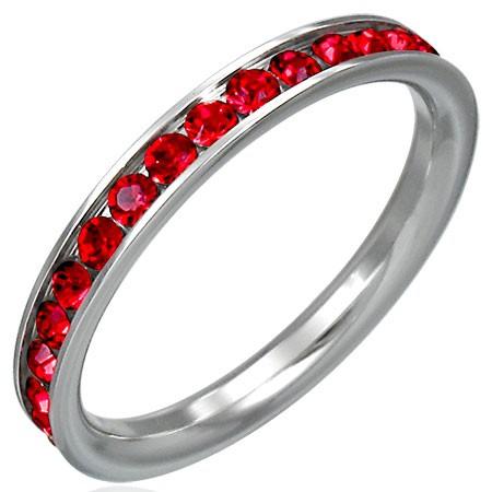 Prstienok z ocele s červenými zirkónmi po obvode D4.6 - Veľkosť: 61 mm