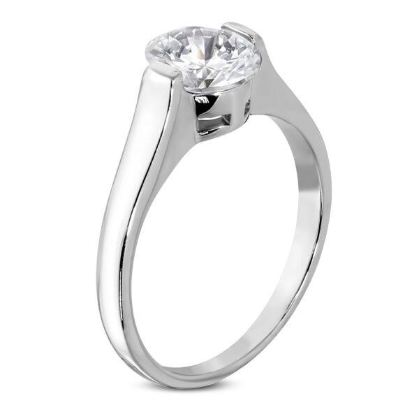 Snubný prsteň s čírym veľkým oválnym zirkónom D3.20 - Veľkosť: 60 mm