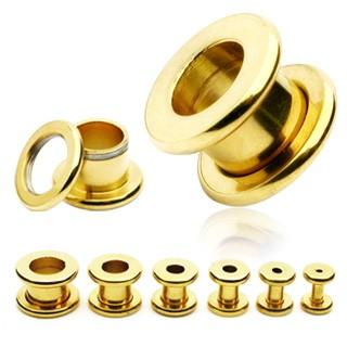 Tunel do ucha z chirurgickej ocele - lesklý povrch zlatej farby C15.12 - Hrúbka: 8 mm