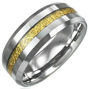 Tungstenový prsteň so vzorovaným pruhom zlatej farby, 8 mm D5.20 - Veľkosť: 52 mm